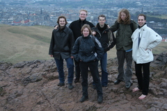 Group photo of me and my friends on top of Arthur's Seat