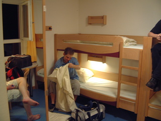 Settling down and making our beds in the Youth Hostel