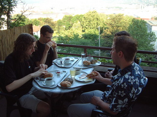 Breakfast on the balcony looking over Stuttgart